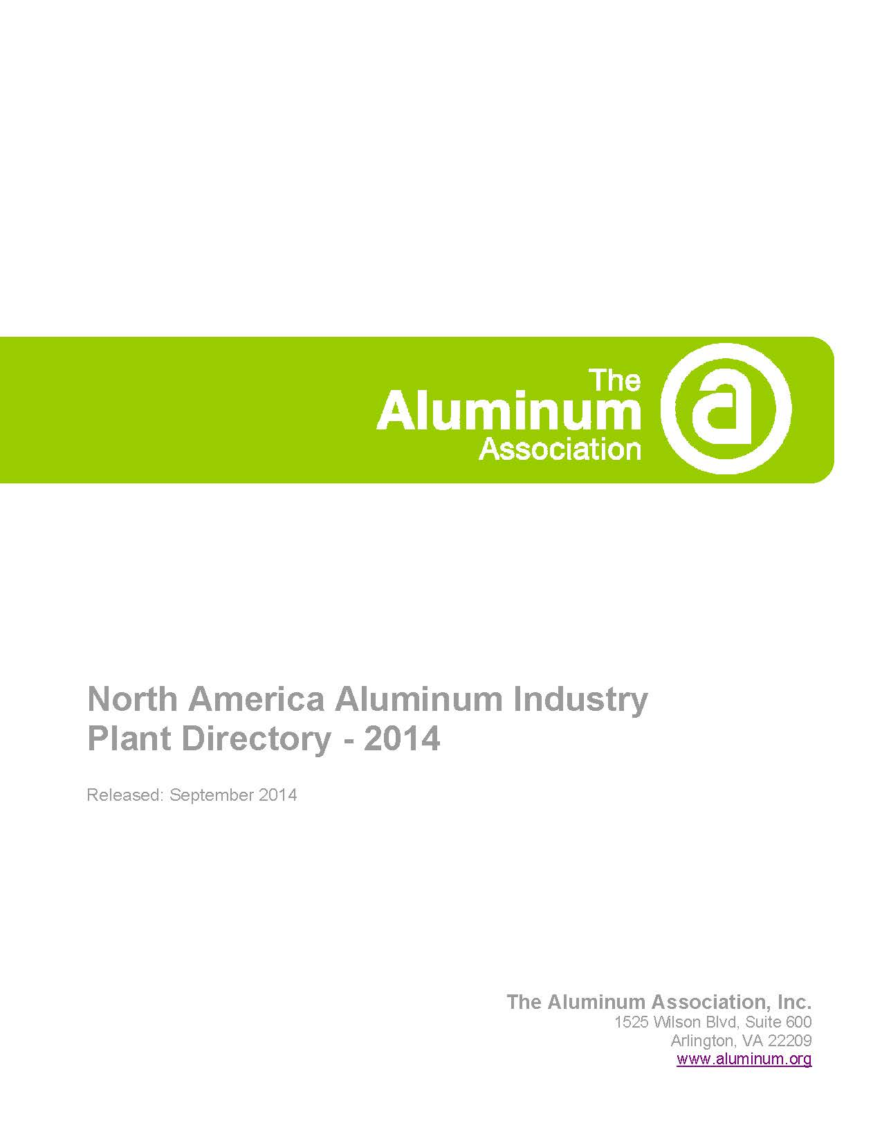 North America Aluminum Industry Plant Directory - 2014