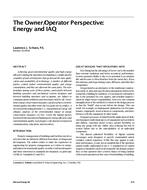 The Owner/Operator Perspective: Energy and IAQ